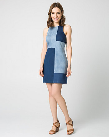 Stretch Denim Patchwork Shift Dress