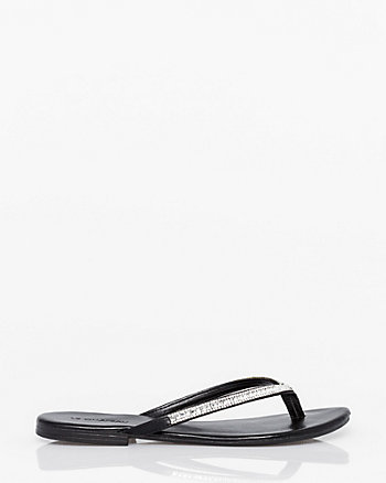 Jewel Embellished Leather-Like Flip Flop