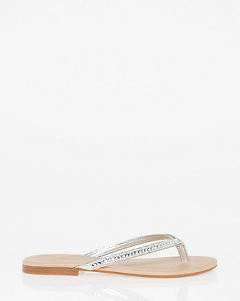 Jewel Embellished Faux Leather Flip Flop