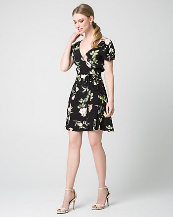 Floral Print Viscose Crêpe Faux Wrap Dress