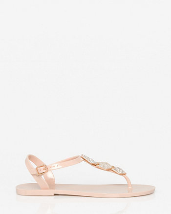 Jewel Embellished Jelly Thong Sandal