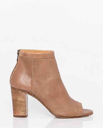 Italian Designed Leather Peep Toe Shootie