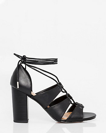 Leather-Like Ghillie Tie Gladiator Sandal