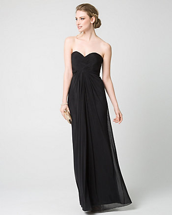 Mesh Sweetheart Pleated Gown