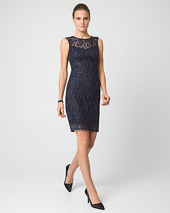Lace Illusion Neck Cocktail Dress