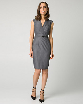 Pinstripe Viscose Blend V-Neck Shirtdress