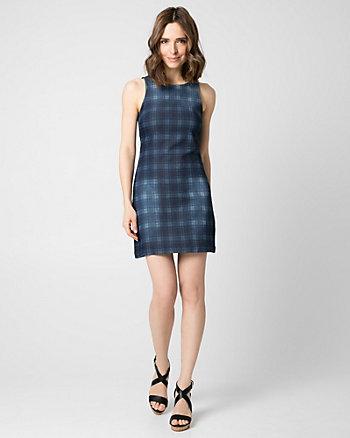 Check Print Stretch Denim Shift Dress