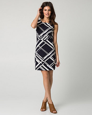 Geo Print Stretch Twill Belted Mini Dress