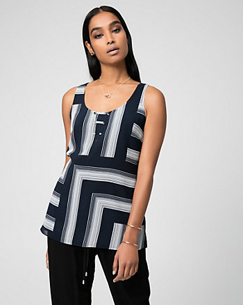 Geo Print Chiffon Scoop Neck Tank Top