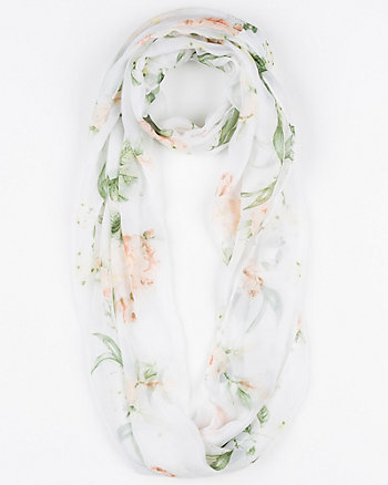 Floral Print Silk-Like Infinity Scarf