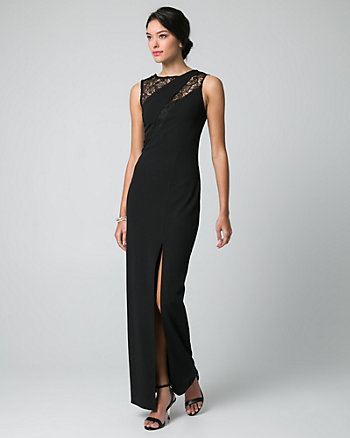 Lace & Knit Crêpe Scoop Neck Gown