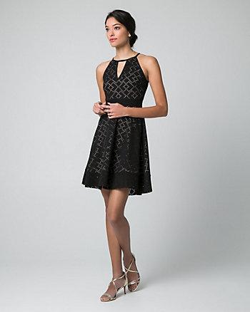 Laser Cut Stretch Piqué Halter Neck Dress