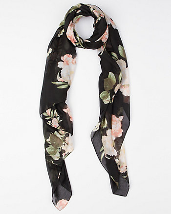 Floral Print Voile Lightweight Scarf