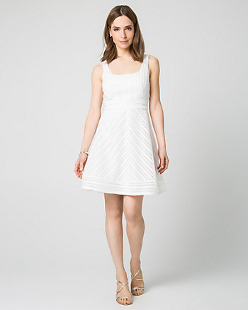 Stripe Lace Fit & Flare Dress