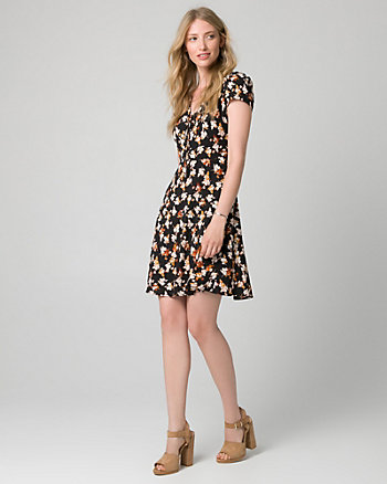 Floral Print Crêpe V-Neck Dress