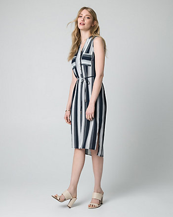 Stripe Crêpe de Chine Shirtdress