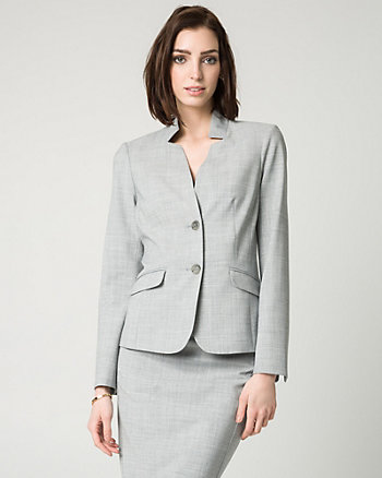 Crosshatch Stretch Viscose Blend Blazer