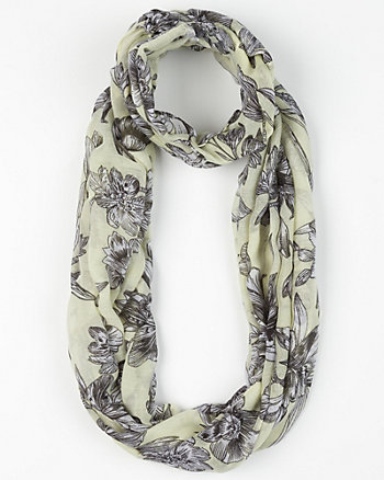Floral Print Voile Infinity Scarf