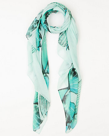 Butterfly Print Voile Scarf