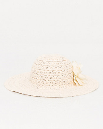 Lace & Cotton Brim Floppy Hat