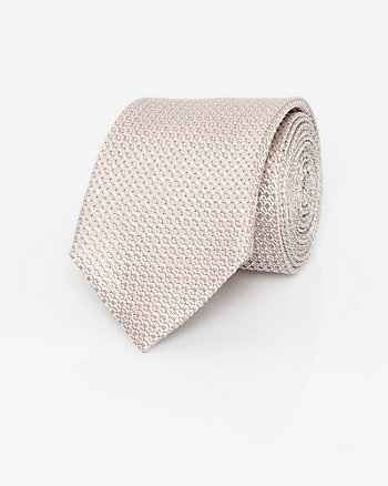 Textured Check Print Silk Skinny Tie