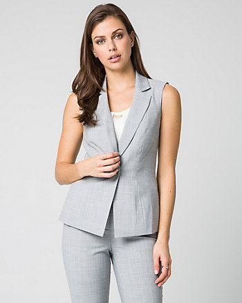 Crosshatch Viscose Blend Notch Collar Vest