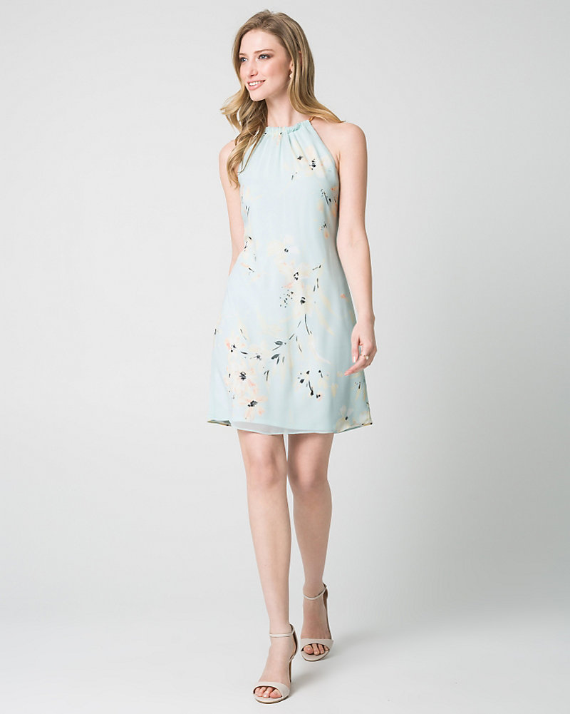 Floral Print Knit Halter Cocktail Dress | LE CHÂTEAU