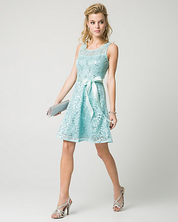 Lace & Sequin Illusion Party Dress