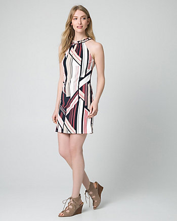 Geo Print Knit Halter Tunic Dress