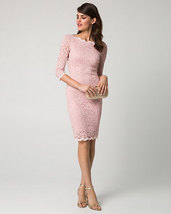 Scalloped Lace Boat Neck Cocktail Dress