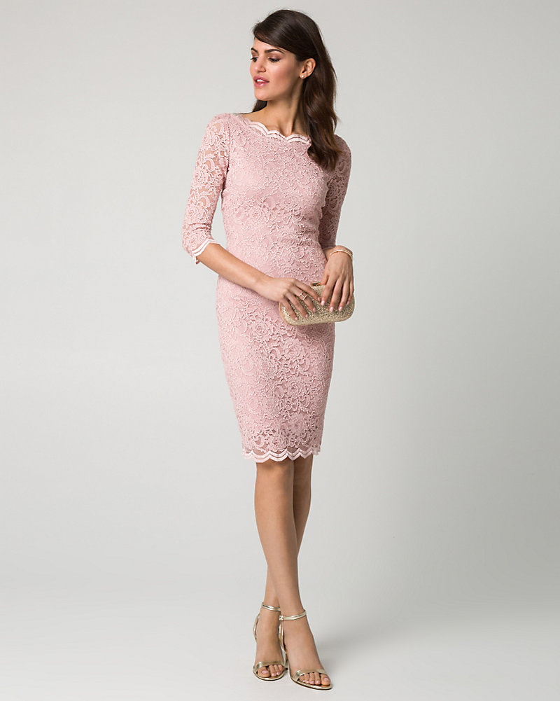 b9fa6d9fe4a7 Scalloped Lace Boat Neck Cocktail Dress