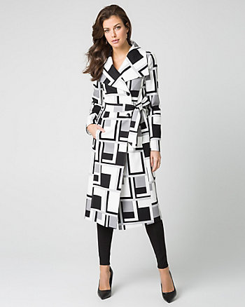 Geo Print Ponte Open Collar Wrap Coat