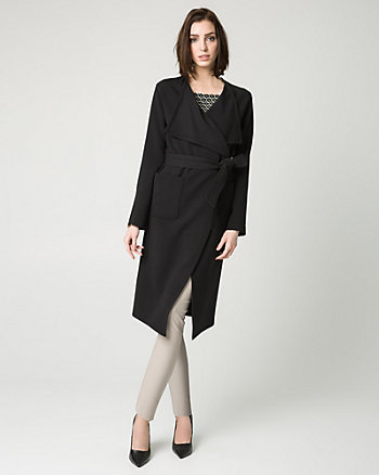 Double Weave Shawl Collar Wrap Coat