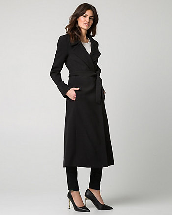 Double Weave Notch Collar Wrap Coat