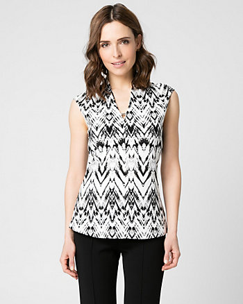 Tribal Print Knit Crêpe Top