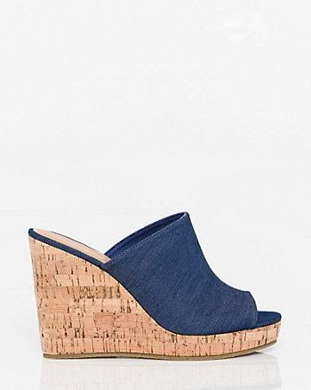 Denim Open Toe Wedge Slide Sandal