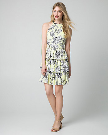 Floral Print Ghost Gauze Halter Dress