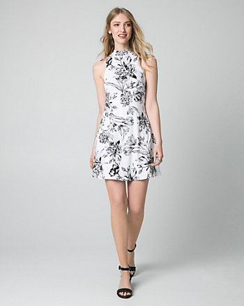 Floral Print Jersey Mock Neck Mini Dress