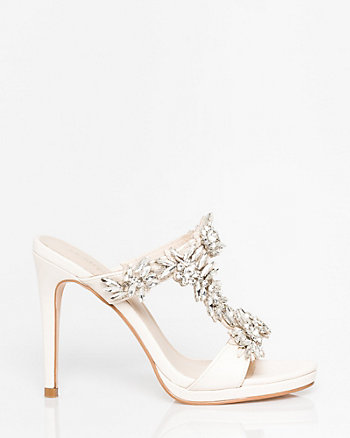 Jewel Embellished Leather-Like Mule