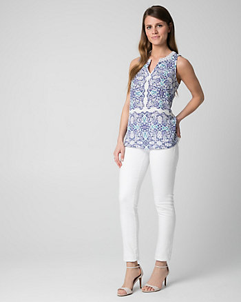 Tile Print Crêpe de Chine V-Neck Blouse