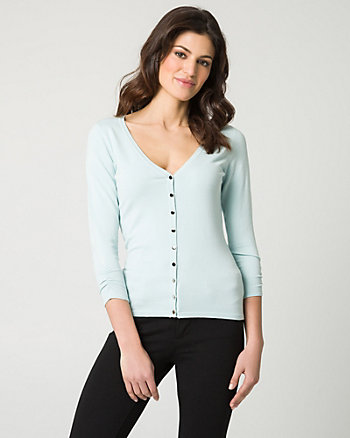 Knit Button-Front Cardigan