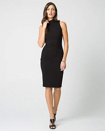 Ponte Mock Neck Midi Dress