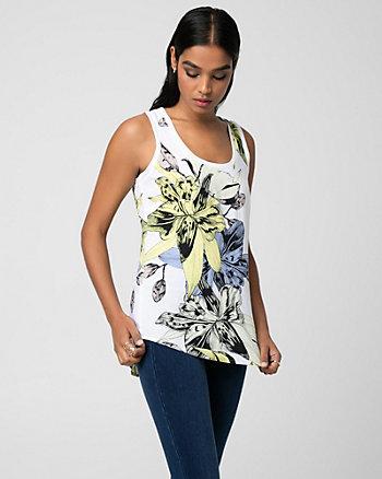 Floral Print Challis Scoop Neck Blouse