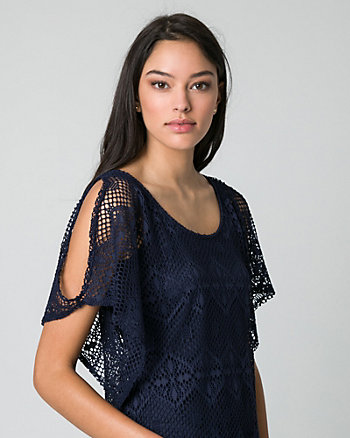 Crochet Scoop Neck Poncho Top