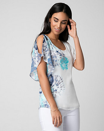 Tile Print Chiffon Scoop Neck Poncho Blouse