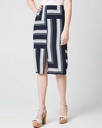Stripe Viscose Midi Skirt
