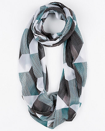 Abstract Print Silk-Like Infinity Scarf