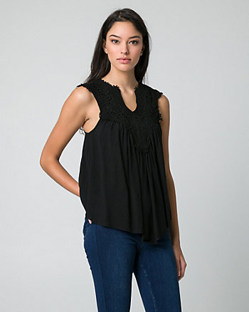 Lace & Challis V-Neck Blouse