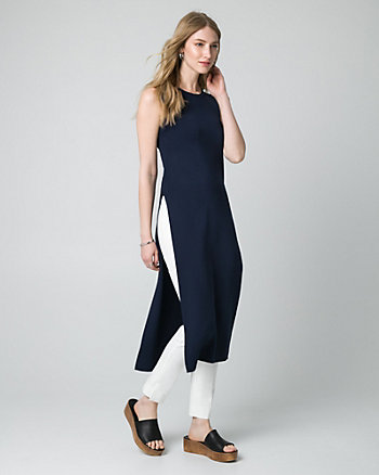Viscose Blend Scoop Neck Slit Tunic