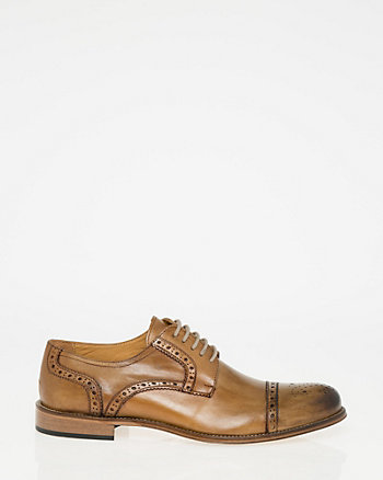 Italian-Made Leather Cap Toe Brogue